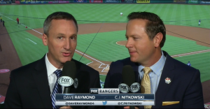 Dave Raymond and CJ Nitkowski of Fox Sports Southwest calling a game vs. the Los Angeles Angels.