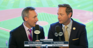 Dave Raymond and CJ Nitkowski of Fox Sports Southwest calling a game vs. the Oakland A's.